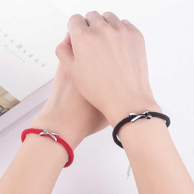 Новая мода 925 серебряные браслеты для женщин красный черный Канат изысканный Нож Меч Парные браслеты леди праздник Ювелирные изделия Подарки