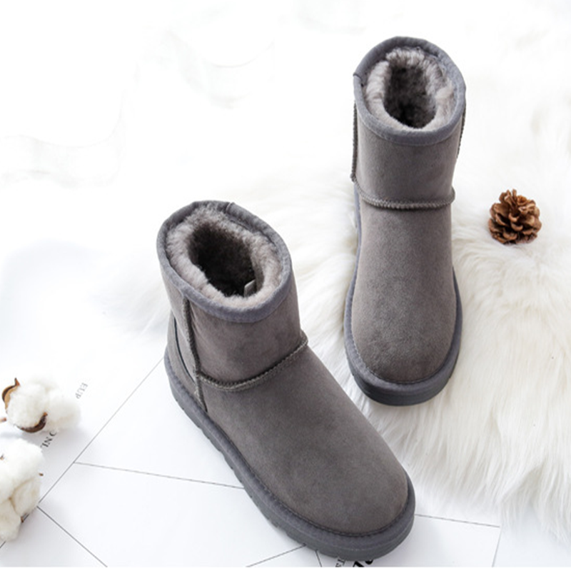 Mujeres 5 Zapatos Oveja Negro 3 Real Botas Invierno Piel 4 Arranque Gris Las De Calidad Ante Tobillo Nieve 1 2 Alta Para Caliente Plataforma Marrón PrzSqPw