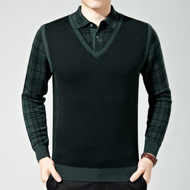 Venta caliente falso de dos piezas de Los Hombres Suéteres de 2016 mezclas De Lana de punto jerseys hombre más el tamaño de Invierno Casual Caliente ropa