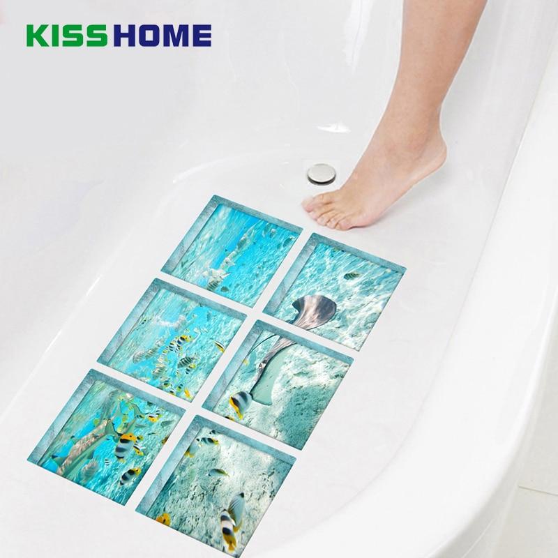 6pcs/bag Bathtub Stick Wall Sticker Imitation 3D Realistic Creative Bathroom Mat 15x15 Underwater World Jigsaw Mats
