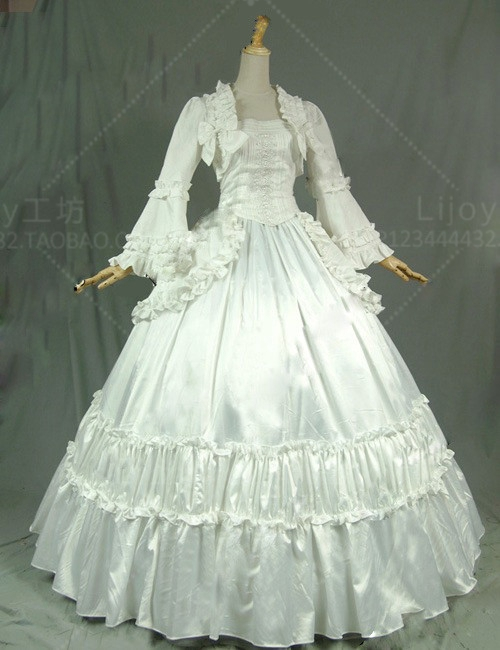 Victorian Gothic Lolita Period Dress Stage Ball Gown Women's Theatre Vintage White Black  Dresses Costumes include Bustle