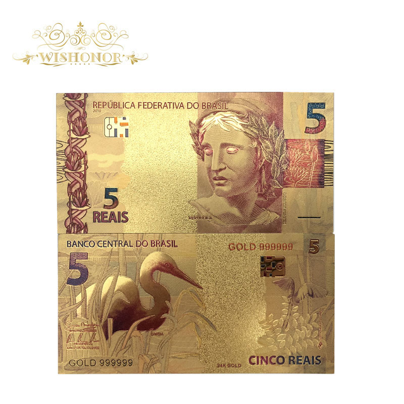 Nice Products 10pcs/lot Color Brazil Gold Banknotes 5 Reals Banknote in 24K Gold Plated Paper Money For Collection
