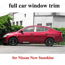 Exterior with center pillar  decoration sill strip For N-issan New Sunshine Stainless Steel full Window Trim