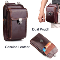 Genuine Leather Pouch Shoulder Belt Mobile Phone Case Bags For iPhone 8 Plus,ZTE nubia N3,Blade Force,Axon 7/7s,Blade A3/V9