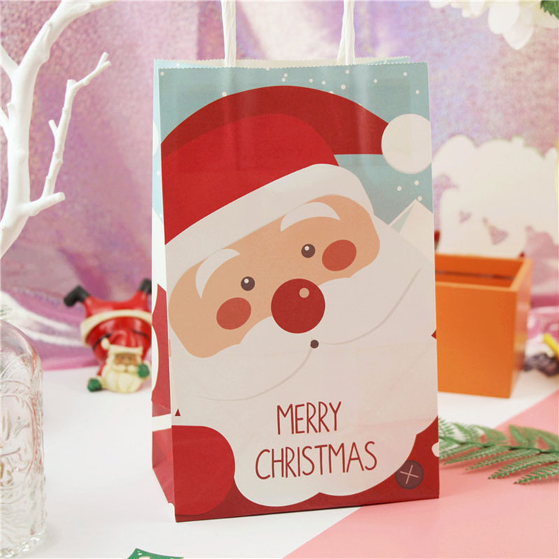 Merry Christmas Gift Bag Lovely Christmas Tree Cute Santa Paper Bags With Handles Christmas Party Cookie Packaging Gift Handbags