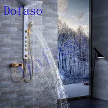 Dofaso full copper bathroom shower faucets systems luxury white and golden rain shower panel nozzle sets gold shower taps dofaso thermostatic shower faucets space aluminum and copper pressure wall golden shower set