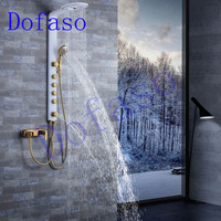 Dofaso full copper bathroom shower faucets systems luxury white and golden rain shower panel nozzle sets gold shower taps