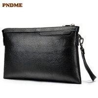 PNDME casual simple genuine leather Men's clutch bag envelope first layer cowhide black wallet coin purses key wallets