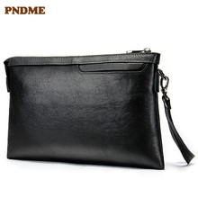 PNDME casual simple genuine leather Mens clutch bag envelope first layer cowhide black wallet coin purses key wallets