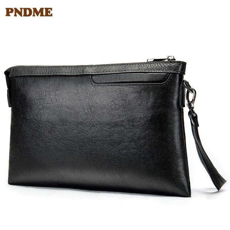 PNDME décontracté simple en cuir véritable pour hommes pochette enveloppe première couche en cuir de vachette noir portefeuille porte-monnaie porte-monnaie porte-clés