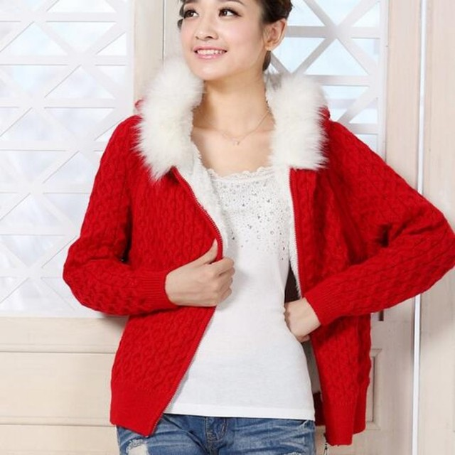 f6e02d0203b5f Warm Winter Womens Sweater Wool Hooded Sweaters Female Fur Lining Thicken  Cardigan Thicken Casual Jacket Outwear