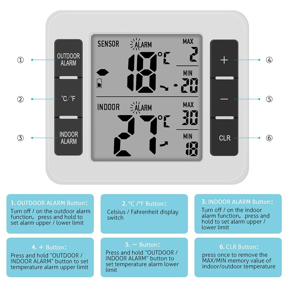 Digital Thermometer with Remote Sensor Transmitter Fridge Outdoor Temperature Meter CLH@8 digital lcd thermometer temperature sensor fridge freezer thermometer indoor fashion thermometer digital new thermometer