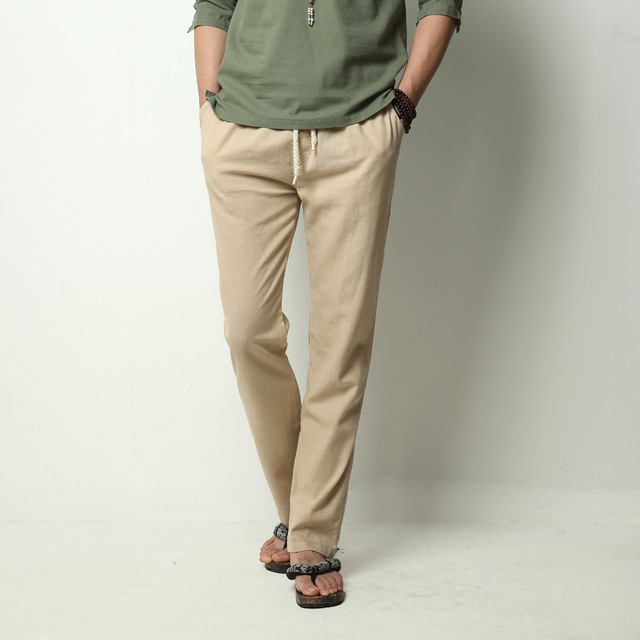 M-4XL!Spring And Summer Breathable Pants Men's Linen Pants Male Cotton And Linen Long Straight Pants