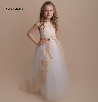 Well-Designed Tulle Flower Girl Dress with Champagne Lace Appliques Big Bow a-line Girls Birthday Party Gowns Reasonable Price