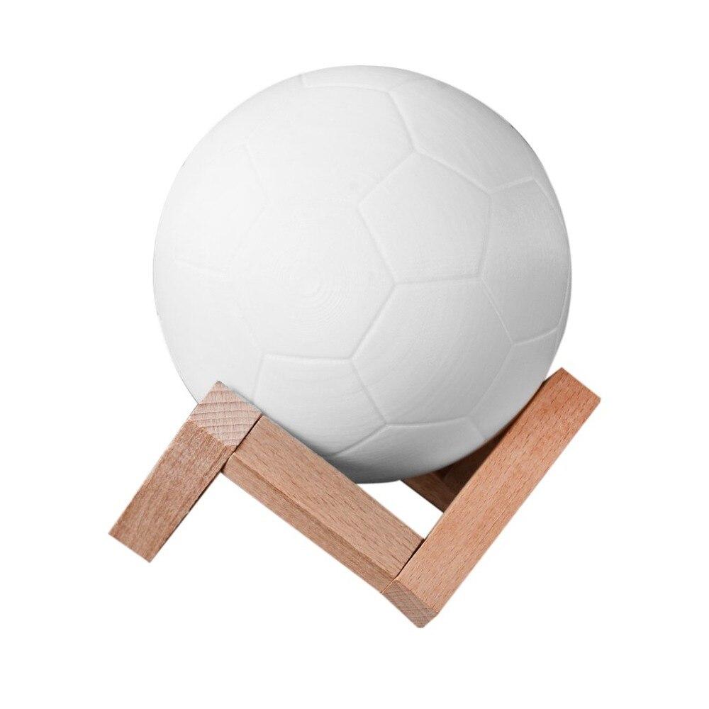 2018 3D принт Футбол лампа Перезаряжаемые 2 Цвет изменить сенсорный переключатель Спальня Night Light Home Decor творческий лампа ...