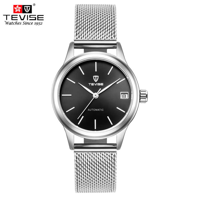 TEVISE Mechanical Watches Women Automatic Self-Wind Mesh Stainless Steel Auto Date Fashion Dress Wristwatches Montre Femme 9017