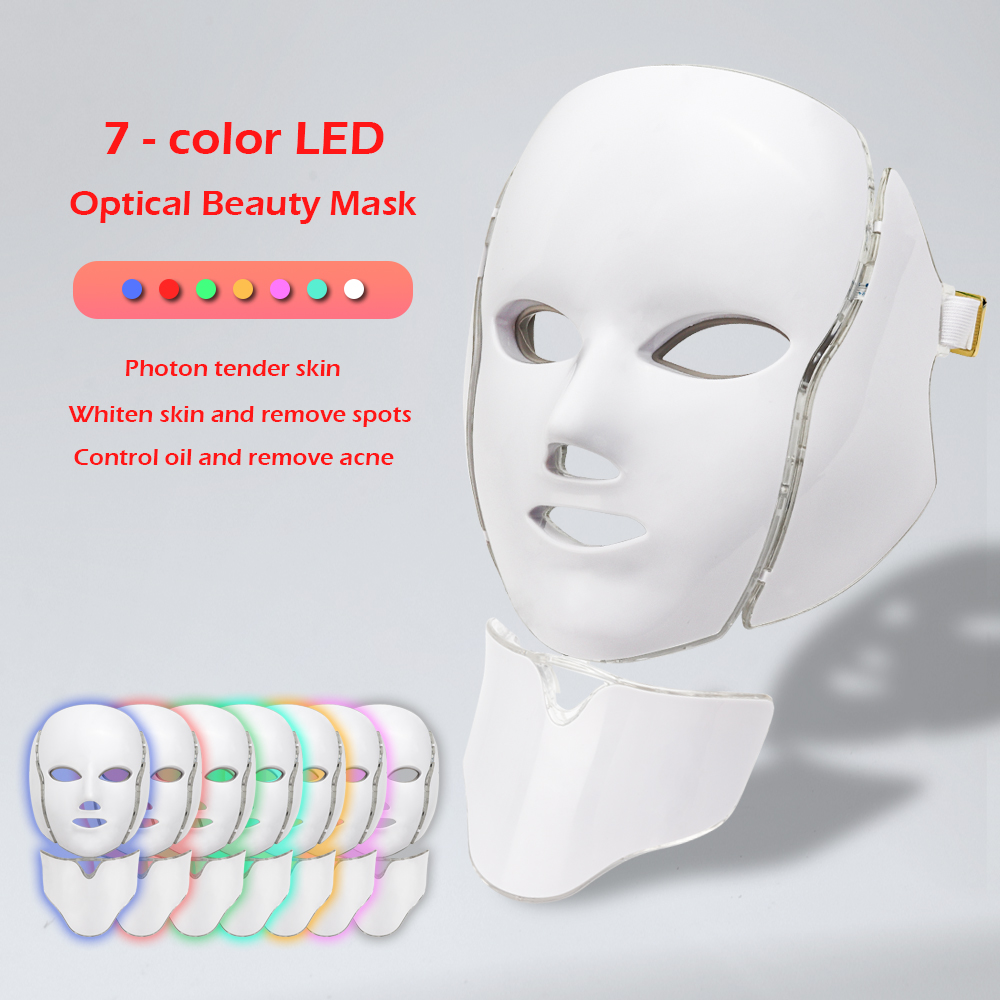 7 Colors LED Facial Mask Beauty Skin Rejuvenation Photon Light Mask With Neck Therapy Wrinkle Acne Tighten Skin Care Treatment