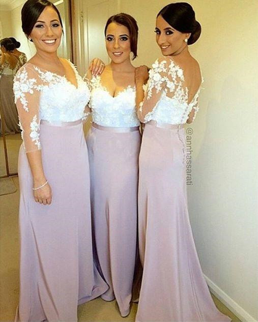Hot Long Pink Bridesmaid Dresses Y V Neck 3 4 Sleeve White Lace Lique Pleats Cap Wedding Party Gowns Zh2220 In From