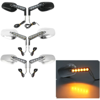 Motorcycle Rear View Mirrors & LED Front Turn Signals For Harley Davidson VROD VRSCF 09 17