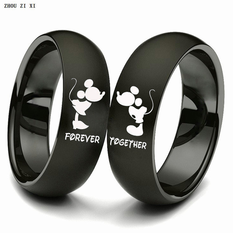 Mr. MRS Couple Ring Forever Together Trendy Simple Titanium Metal Finger Ring Cute Fashion Gifts Party Toys For Boys And Grils