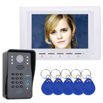 7 RFID Password Video Door Phone Intercom Doorbell With IR Camera 1000 TV Line Access Control System jeruan 7 lcd video door phone 2 white monitor 1 hd camera apartment 1v2 doorbell rfid access control free shipping