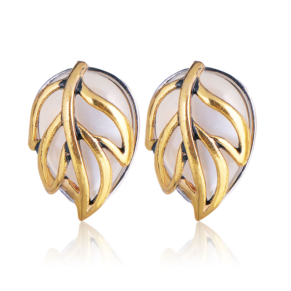 QIYIGE Pearl Earrings Gold Color Leaves Shape Trendy Austrian Crystal Opal For Wedding or Women Jewelry Gifts