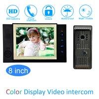 8'' Color LCD Video Door Phone House Garden improvement Device Wire Doorbell Door Release Unlock Night Vision IR HD Camera