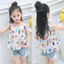 Children's T-Shirts Kids Girls Blue White Party Princess Dress Sleeveless Print Tshirt Summer Short Tops Blouse 2-7