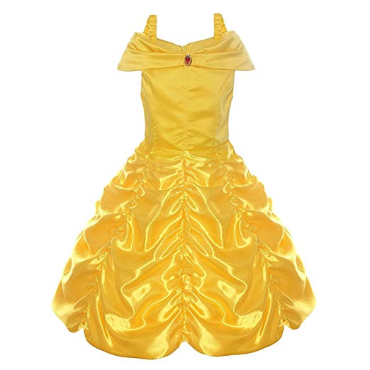 Belle Costume Kids Princess Dress for Girls Fancy Halloween Cosplay Party Outfit Yellow