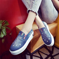 2016 New Arrival Breathable Cotton Fabric High Platform Women's Loafers Fashion Five Star Pattern Denim Casual Shoes 2 Colors