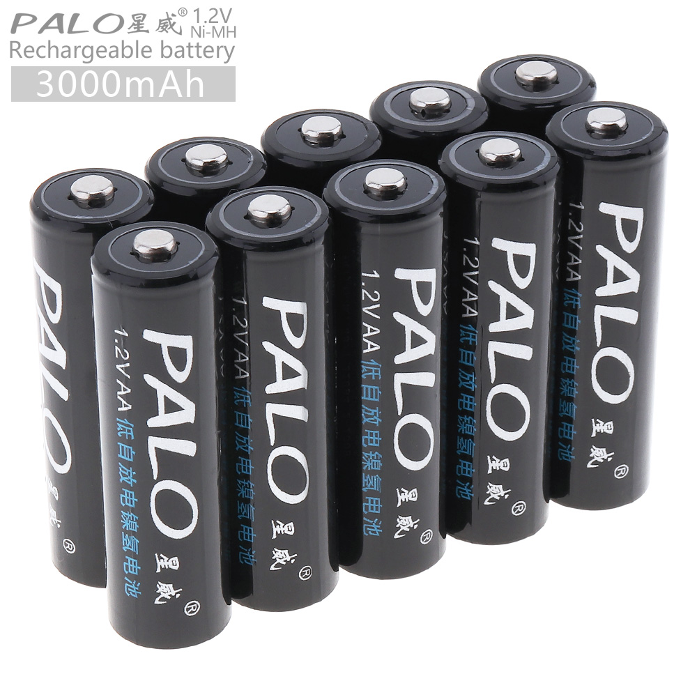 PALO 10pcs 1.2V AA 3000mAh High Capacity Ni-MH Rechargeable Battery with 5A Charging Current for Remote Control / Toys / Camera