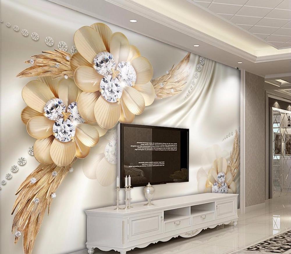 Home Improvement 3D Wallpaper Walls Printing Wallpapers For Living Room Bedroom gold flower 3D ...