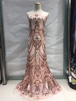 2019 Embroidery Mesh TulLe Lace Fabric 5yards Flower Pattern Beaded African Lace Fabrics Wholesale for Wedding Party