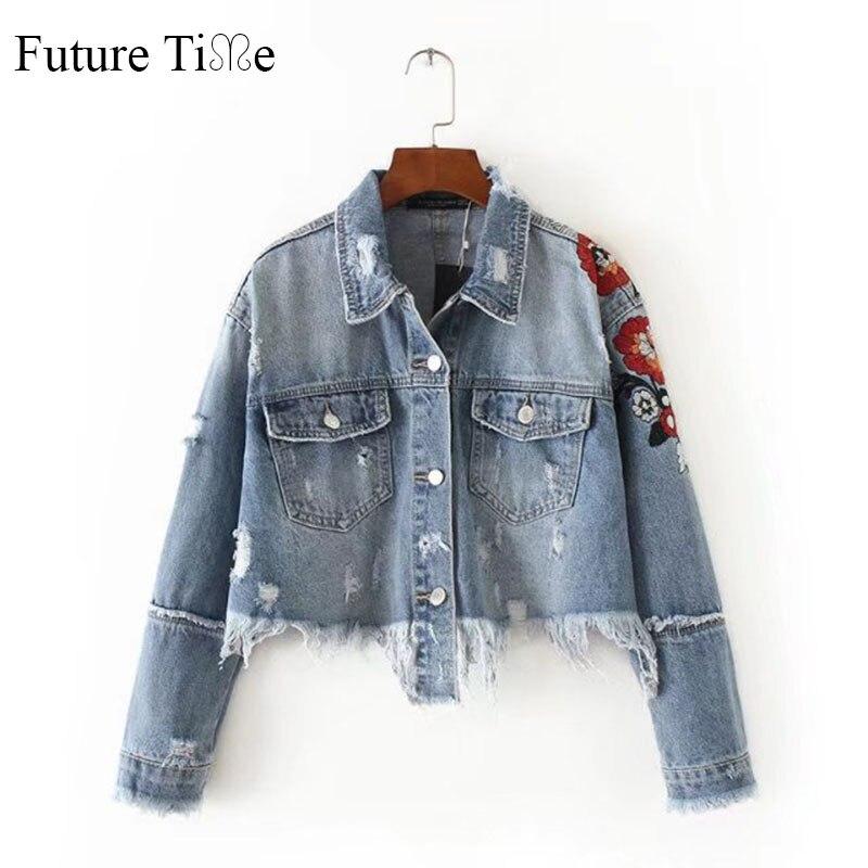 Future Time Women Jeans Jacket Flower Embroidered Ripped Short Jackets Autumn Tassel Punk Denim Jacket Short Coat Outwear WT007
