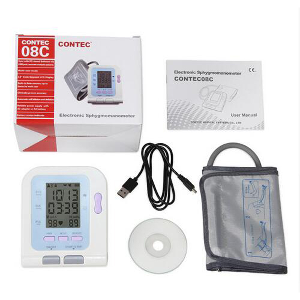 2018 New CE FDA Digital Blood Pressure Monitor USB Software CD SPO2 Probe Included CONTEC08C BP Monitor, Tensiometer
