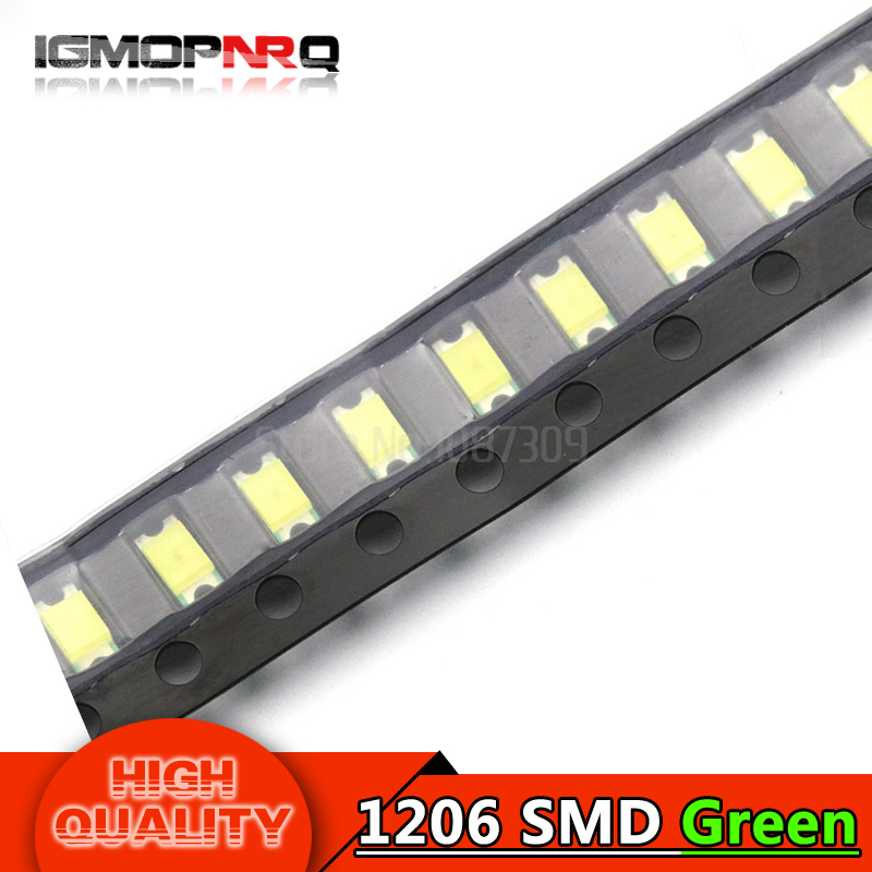 100pcs Green 1206 SMD LED diodes light 3216(China)