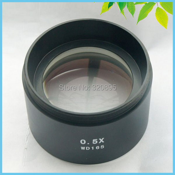 WD165 0.5X Stereo Microscope Auxiliary Objective Lens Barlow Lens with 1-7/8 (48mm) Mounting Thread gso 1 25 3 element 2 5x barlow lens