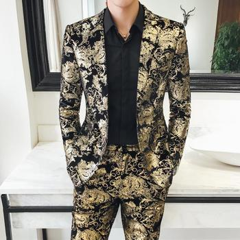 Noble mens Suits Jacket and Pant  Fashion High Quality Suits Coats and Trousers Asian size S-5XL