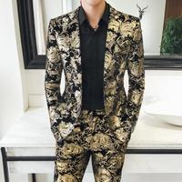2019 new men's two piece set High Quality Noble mens Suit Jacket and Pants size S 5XL