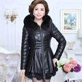 2016 Novo Casaco de Couro Inverno Moda Feminina Médio-Idade Gola de Pele Quente Com Capuz PU de Algodão Acolchoado Jaqueta Outerwear Feminino WY335