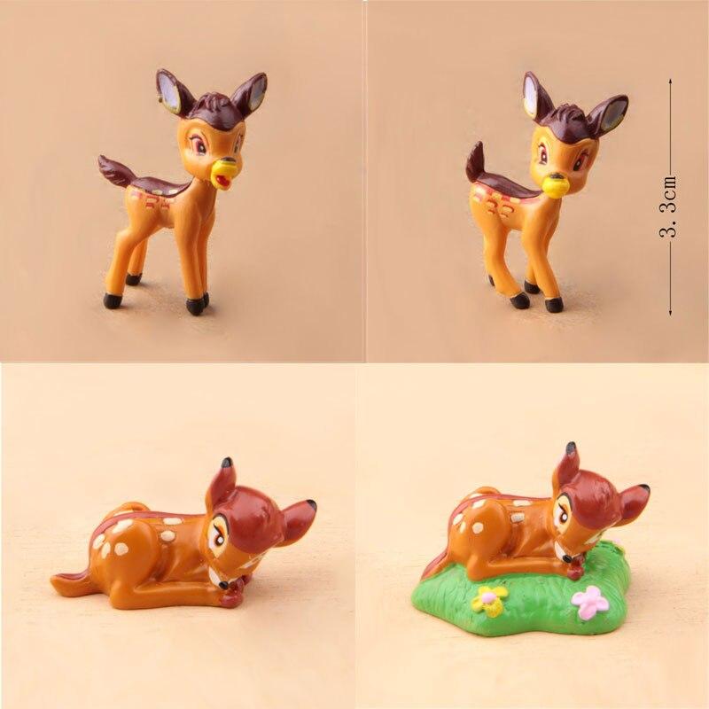 4 estilos de Mini figuras Bambi versión Q Bambi PVC figuras de acción de juguete de modelo de colección para la decoración del hogar cumpleaños regalo de Navidad