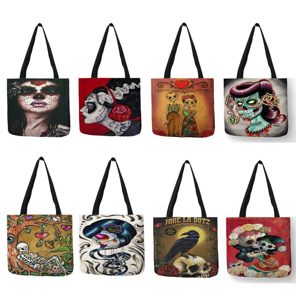 eb9c70a09 ... Personalizado dulces de Halloween calavera Floral de chica, bolso para  las mujeres Casual bolsos de ...