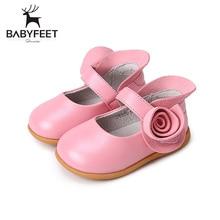2017 Babyfeet Fashion Baby Girls First Walkers Premium Leather Spring And Autumn TPR Sole Toddler Children