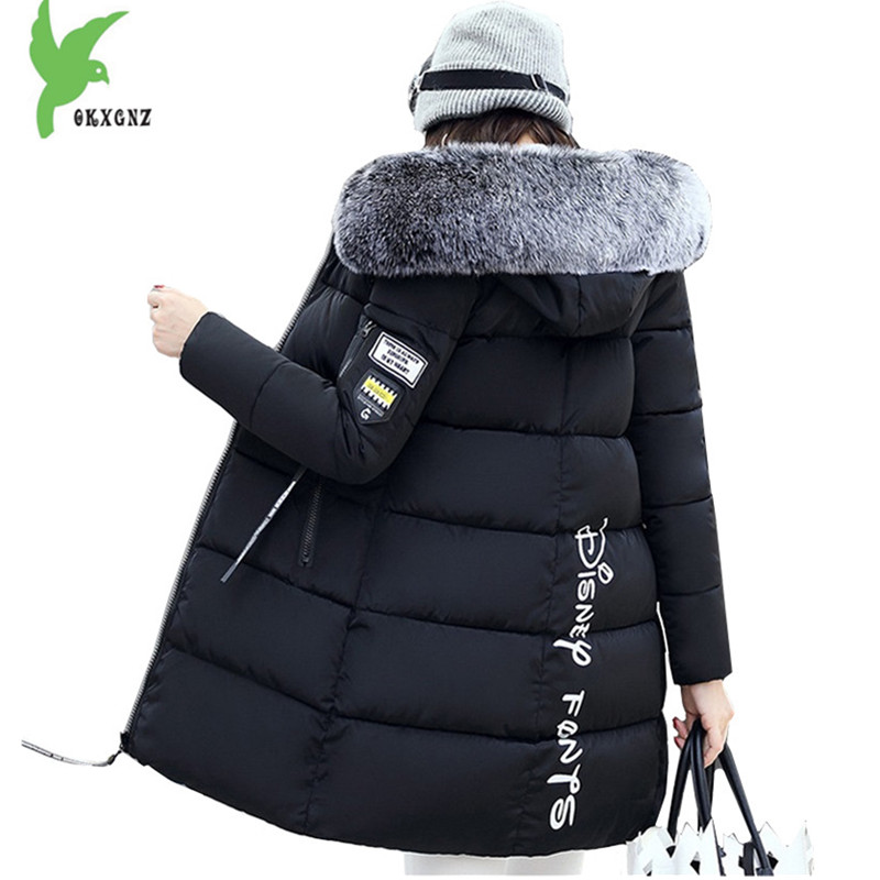New Women Winter Jacket Coats Down cotton Parkas Hooded Fur collar Jackets Plus size Female Outerwear Medium length OKXGNZ A1103 middle aged women winter cotton jackets thick warm parkas plus size mother cotton coats hooded fur collar outerwear okxgnz a1238
