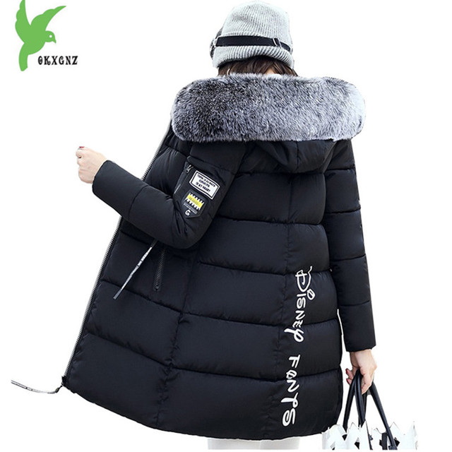 Cheap New Women Winter Jacket Coats Down cotton Parkas Hooded Fur collar Jackets Plus size Female Outerwear Medium length OKXGNZ A1103