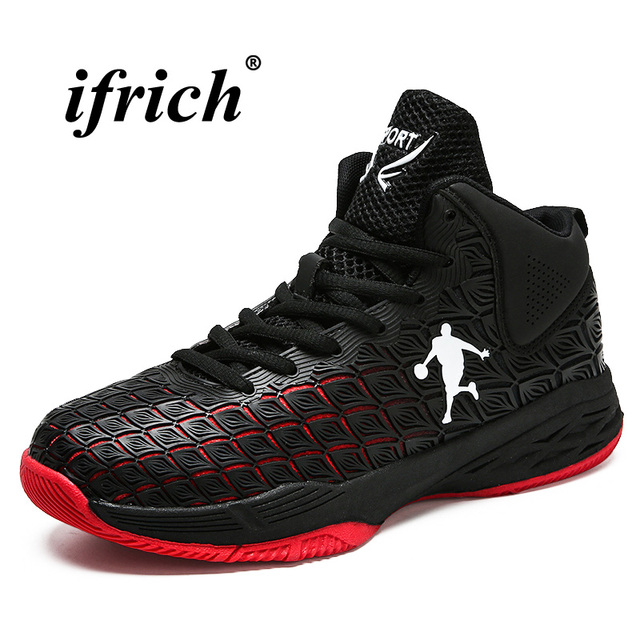 2018 Basketball Sport Shoes Men High Top Outdoor Footwear Anti-slip Sneakers Male Black Red Basketball Boots Cushioning Sneakers