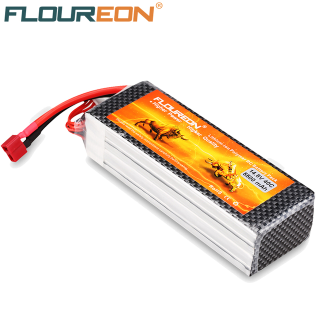 14.8V 5500mAh Floureon 4S 40C RC Lipo Battery for RC Helicopter Quadcopter Car Hobby Bateria Rechargeable Lipo Deans T Plug