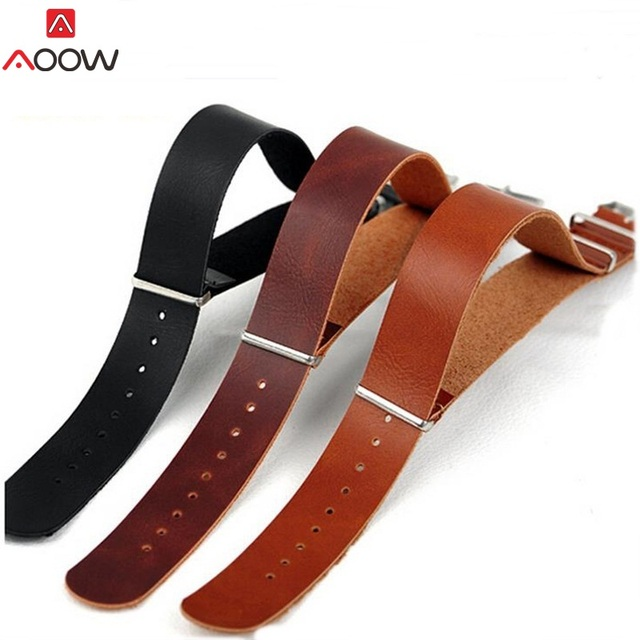 AOOW PU Leather ZULU Watchband Strap NATO Leahter Watch band 18mm 20mm 22mm 24mm