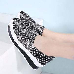 Image 5 - STQ 2020 Summer Women Platform Shoes Women Slip On Casual Woven Platform Sneakers Shoes Laides Wedge Sneakers Footwear 755