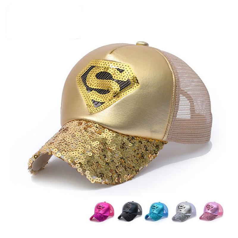 Novi slogi Sequins superman mrežasti klobuk Baseball Caps Črni - Oblačilni dodatki